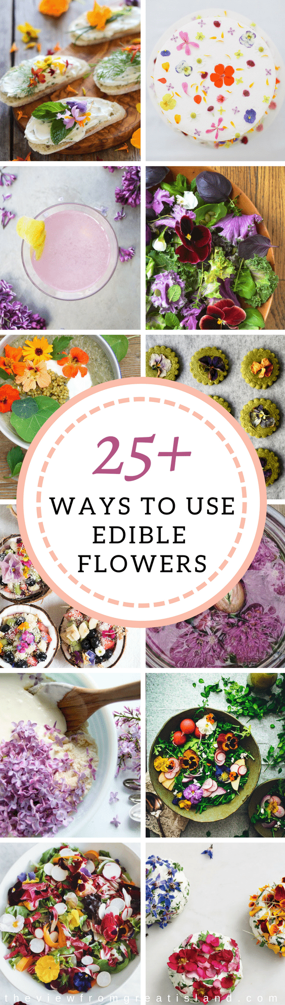 25+ Ways to Put Edible Flowers on the Table ~ flowers are one of the joys of spring time, and they're also back in vogue as garnishes and ingredients in all kinds of recipes.  #edibleflowers #flowers #spring #floral #cookingwithflowers #roses #lilac #violets #pansies #Easterrecipe #mothersdayrecipe #weddingshower #weddings