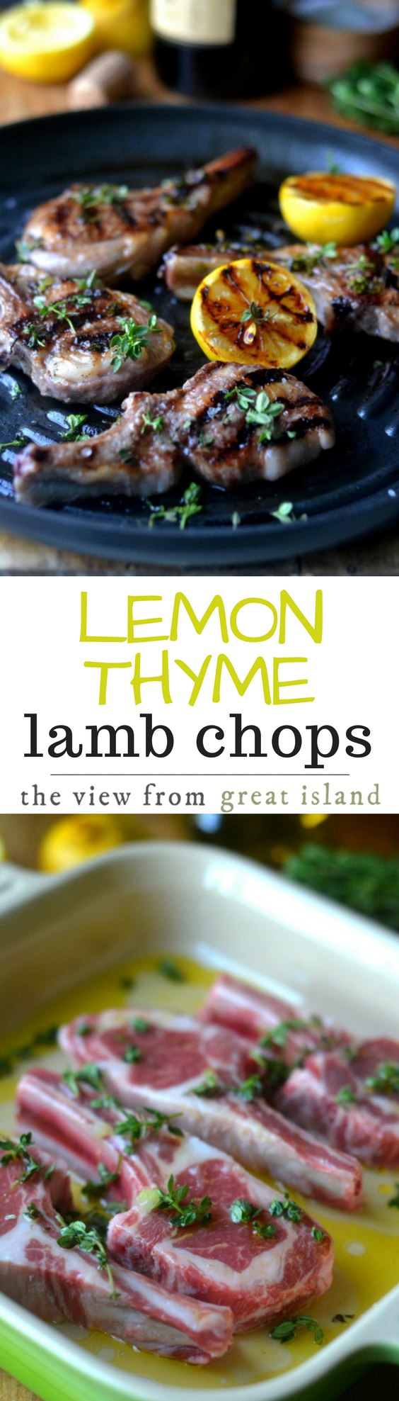 Lemon Thyme Lamb Chops is an elegant 30 minute meal that is as vibrant and delicious as it is quick and easy to put on the table. | main course | meat | dinner | grilling |