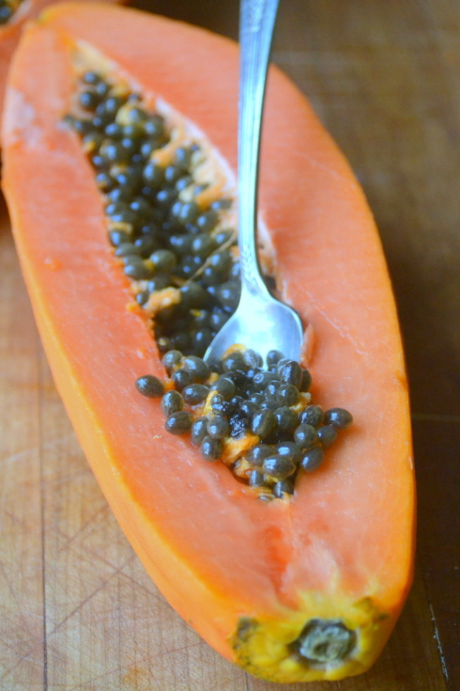 Cutting papaya