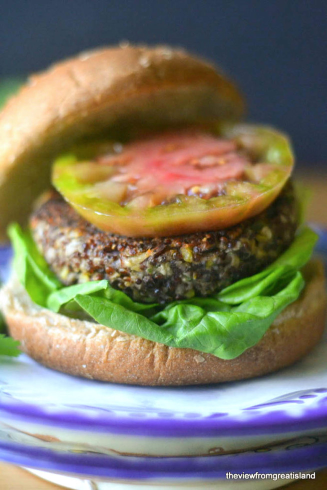 Red Quinoa and Black Bean Veggie Burgers| The View from Great Island 4