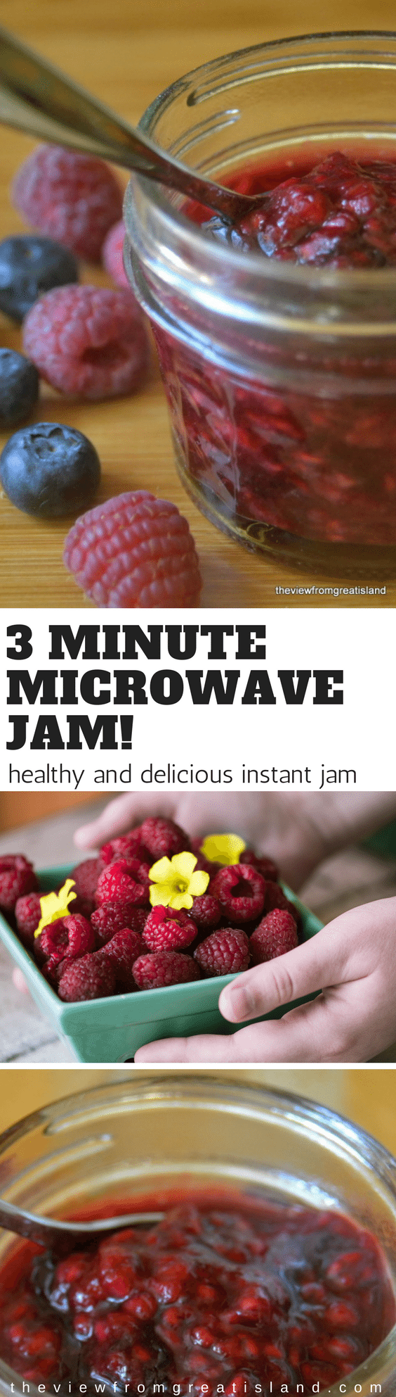 3-Minute No Sugar Microwave Jam ~ this amazingly fresh and vibrant jam is made in just minutes in the microwave, without any of the muss and fuss associated with traditional jam making ~ score! #jam #berries #microwavejam #preserves #smallbatchjam #freezerjam #refrigeratorjam #raspberryjam #strawberryjam #easyjam #nosugar #sugarfree