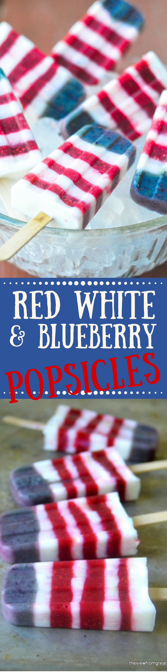 Show your colors this summer with these healthy Red White and Blueberry Yogurt Popsicles! Kids of all ages love these berry-licious frozen treats! #popsicles #redwhiteandblue #memorialday #4thofjuly #fourthofjuly #diypopsicles #summer #summerdessert #dessert #stripedpopsicles #yogurtpopicles #healthydessert