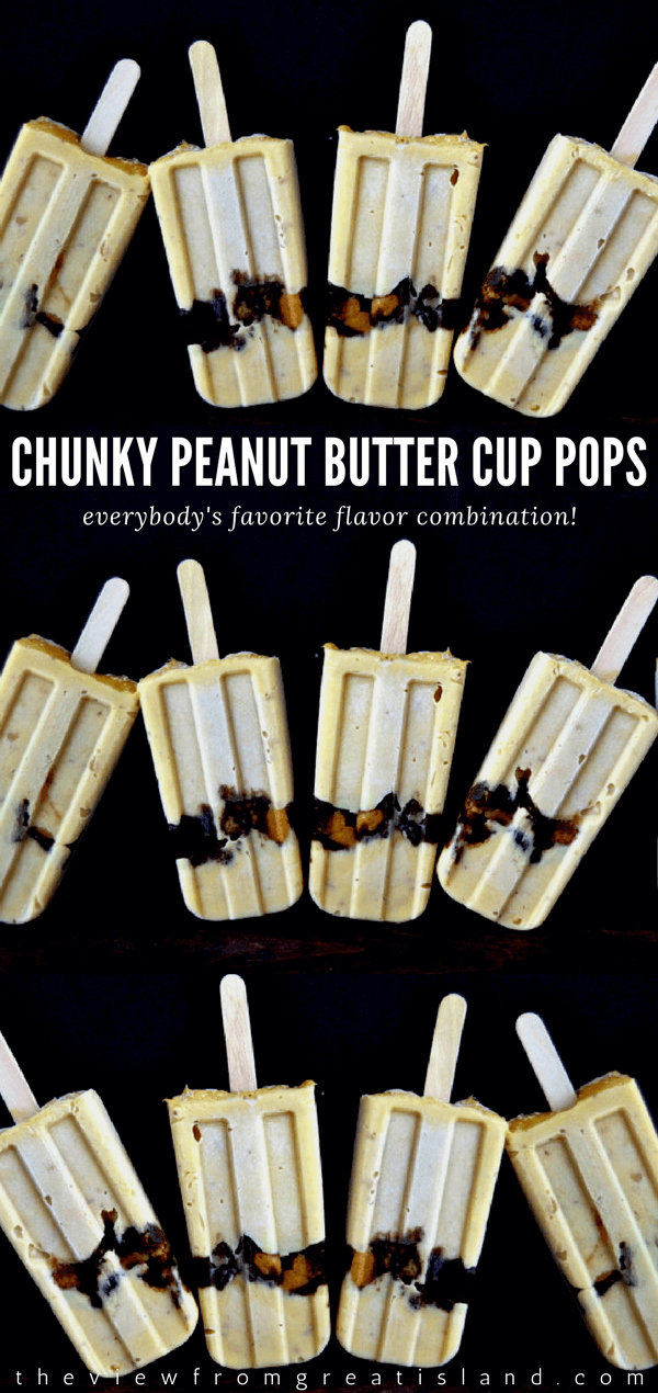 These Chunky Peanut Butter Cup Pudding Popsicles are so utterly creamy, there's not a hint of iciness about them! #popsicles #puddingpopsicles #peanutbutterucup #chocolateandpeanutbutter #dessert #summer #frozendessert #kidsdessert #frozen #icecream #icecreampopsicles