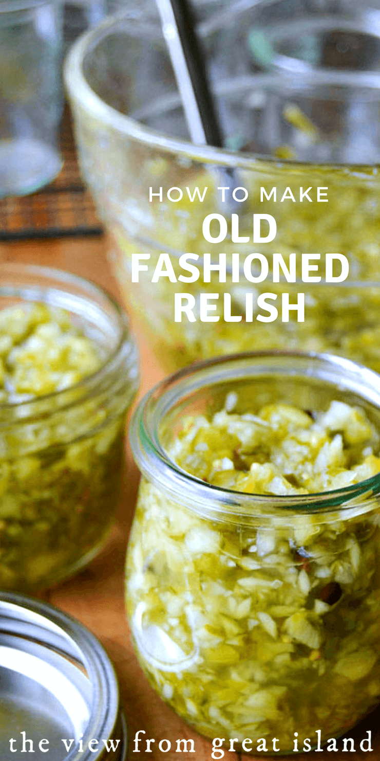 How to Make Old Fashioned Relish ~ this homemade pickle relish is so much better than anything you can buy! #pickles #relish #homemade #condiment #cucumbers #preserving #barbecue #grilling #hotdogs #hamburgers