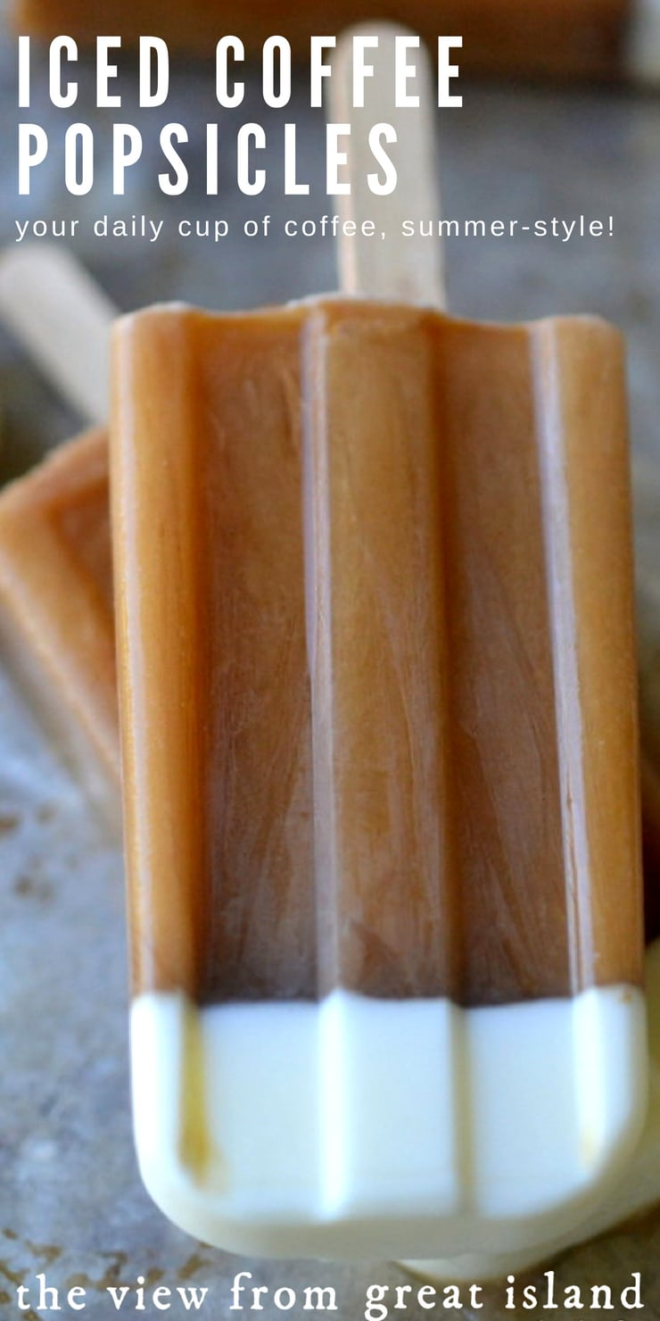 Iced Coffee Popsicles ~ this is the way to get your morning (or evening!) cup of coffee when it's hot out, these refreshingly caffeinated popsicles are like a long tall drink of iced coffee, on a stick! #icedcoffeepopsicles #popsicles #coffeepopsicles #icedcoffee #summer #diypopsicles #coffee #summerdessert