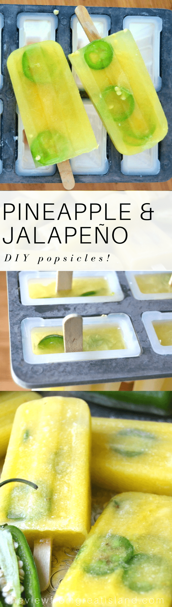 These Pineapple Jalapeño popsicles unique and delicious!  The  icy cold - sweetness of the pineapple hits your tongue at the same moment the heat of the jalapeño kicks in. #popsicles #diypopsicles #jalapeno #savorypopsicle #pineapple #summer #frozendessert #dessert
