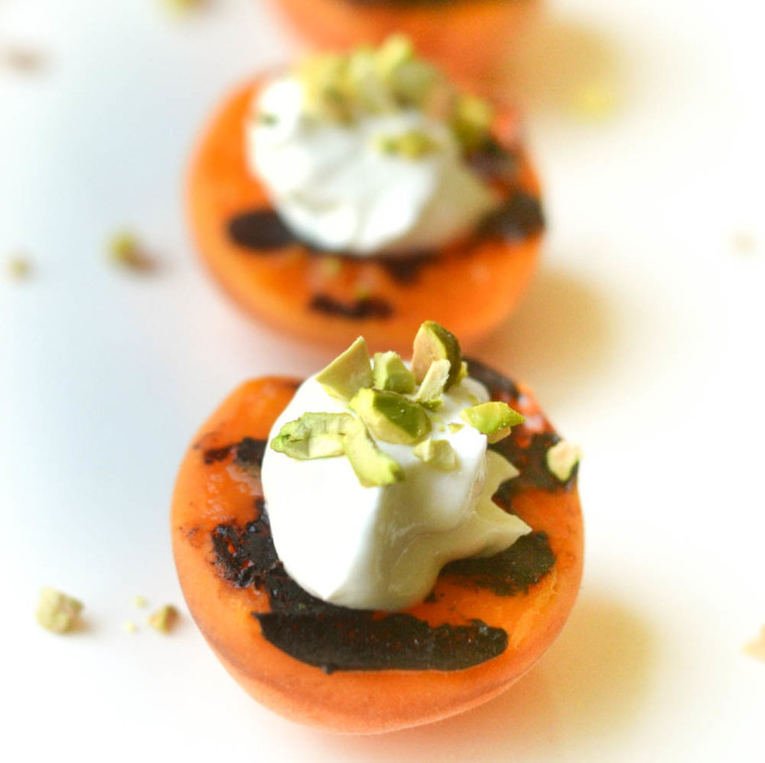 Blackened Apricots with Creme Fraiche, Pistachios, and Pomegranate Molasses