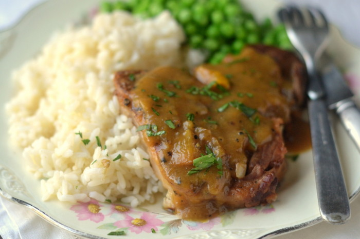Peach Barbecue Smothered Pork Chops 5