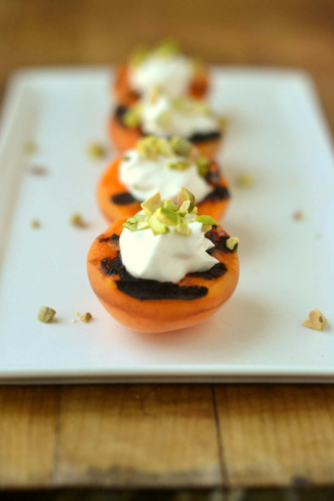 Blackened Apricots with Creme Fraiche, Pistachios, and Pomegranate Molasses 9
