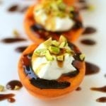 Blackened Apricots with Creme Fraiche & Pistachios