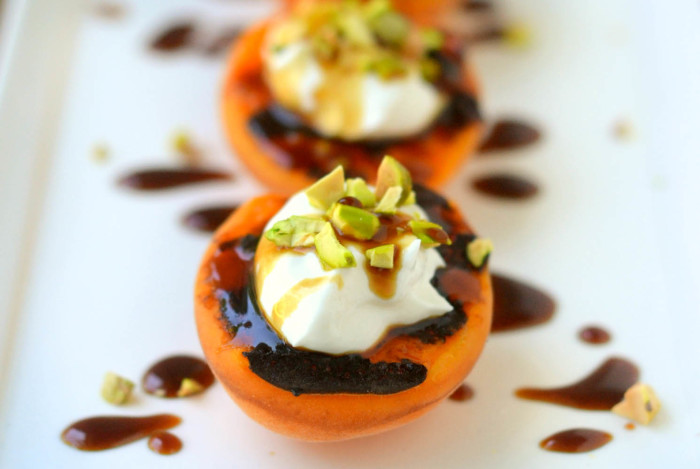 Blackened Apricots with Creme Fraiche, Pistachios, and Pomegranate Molasses 8