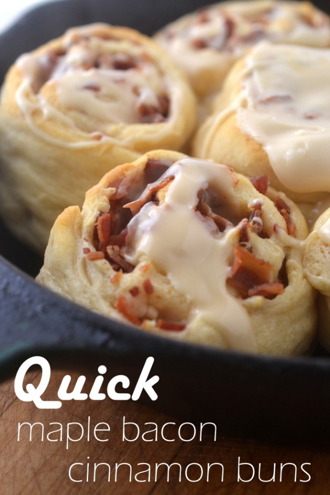 Minimal Monday: Quick Maple Bacon Cinnamon Buns - The View from Great ...