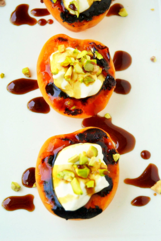 Blackened Apricots with Creme Fraiche, Pistachios, and Pomegranate Molasses 2