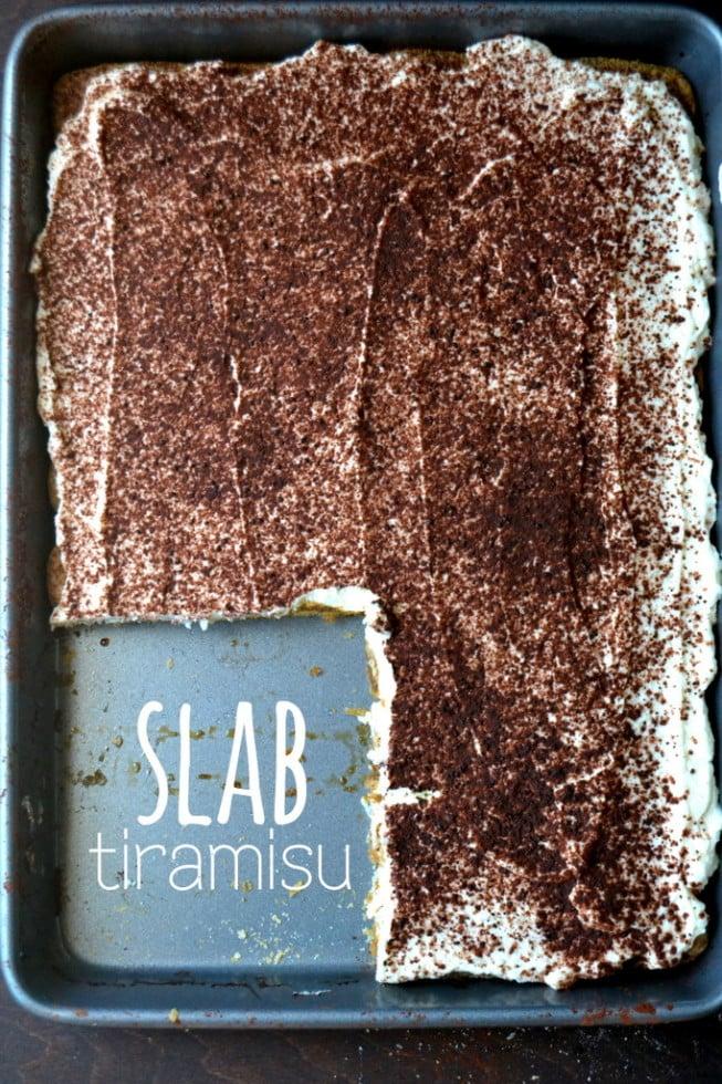 Slab Tiramisu, easy no bake