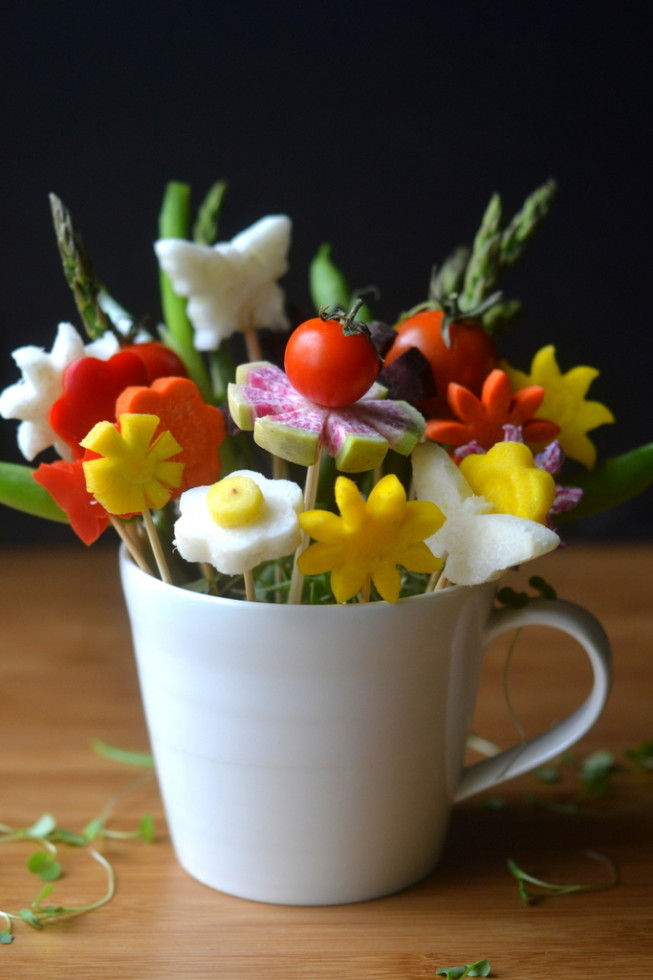 How to Make Veggie Flower Bouquets 12