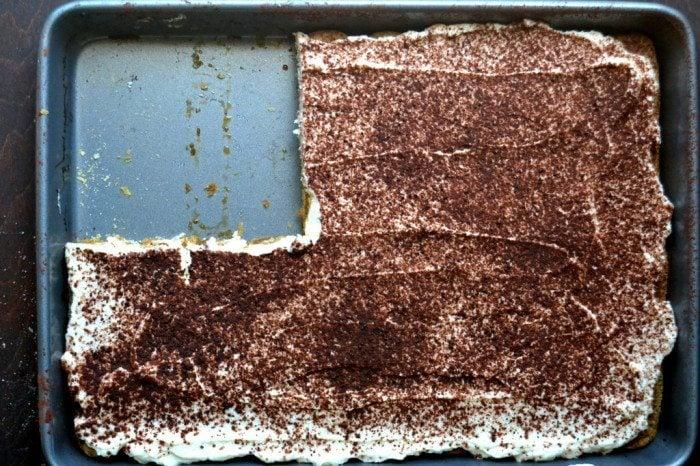 Overhead photo of a tray of No-Bake Slab Tiramisu.