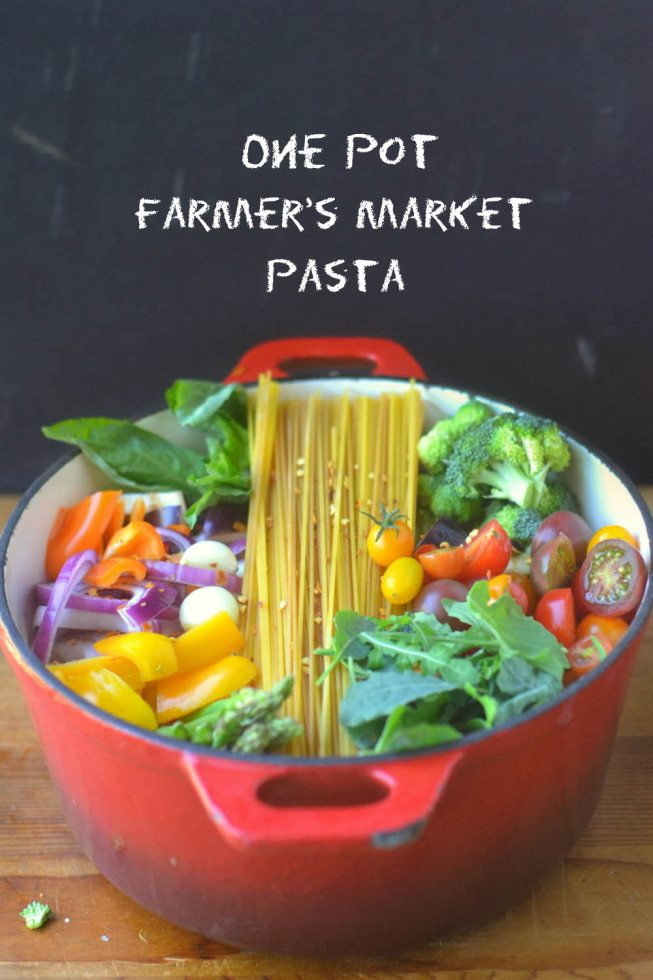 a pot of colorful one pot farmers market pasta ready to cook