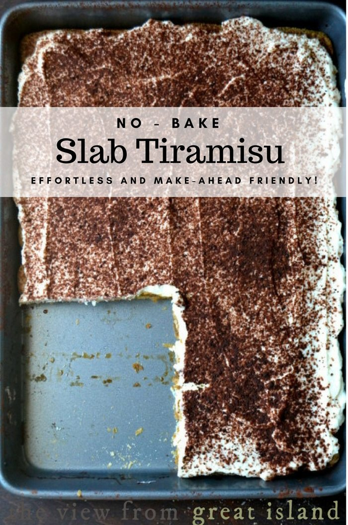 No-Bake Slab Tiramisu ~ this cool and creamy tiramisu cake recipe is an effortless way to satisfy a crowd ~ layer it up, and let it hang out in the refrigerator, it'll get better as it sits! #tiramisu #nobake #nobakedessert #dessert #entertaining #italiandessert #coffeedessert #coffee