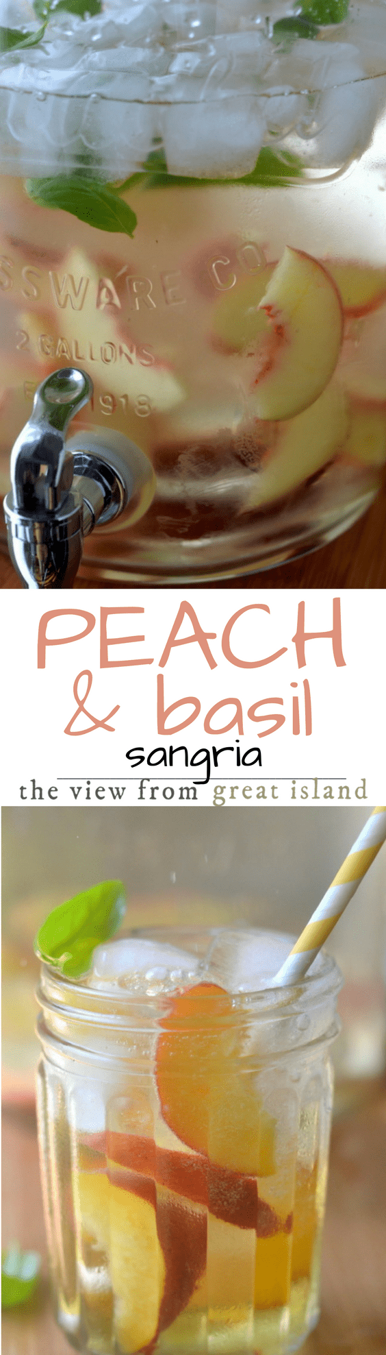 Summer Peach and Basil Sangria is the ultimate in summer refreshment, and this is THE drink you'll want to have chilling in the backyard all season long... | cocktails | beverage | summer drinks | wine |