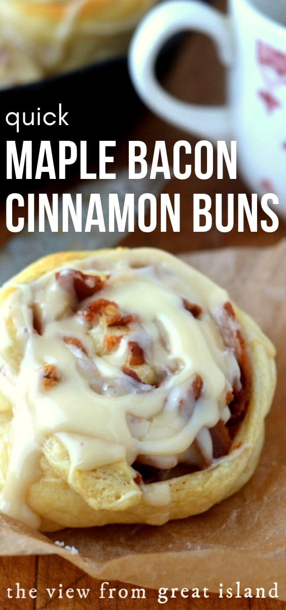 Quick Maple Bacon Cinnamon Buns?  No, don't run for your reading glasses, these rolls are the shorthand version, they're ready for the oven in the time it takes to make your first cup of coffee. #cinnamonbuns #easycinnamonbuns #maplebacon #maplebaconcinnamonbuns #bacon #fall #breakfast