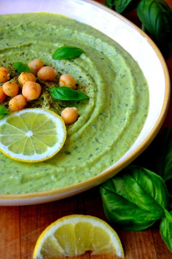 Fresh Summer Basil Hummus