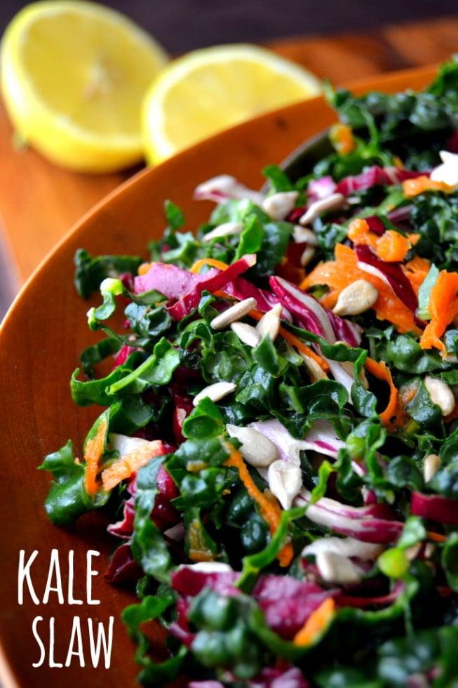 Kale Slaw with Lemon Sesame Dressing