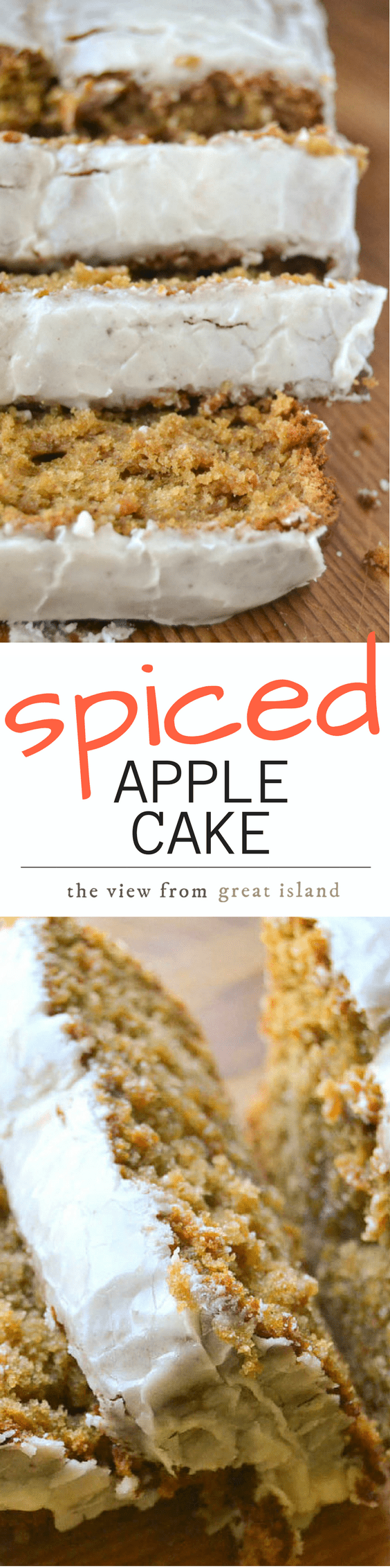 This Spiced Apple Cake has a moist crumb thanks to apple butter, and the perfect amount of spice ~ a nutmeg glaze tops it off! | coffee cake | pound cake #cake #spicecake #applecake #appledessert #falldessert #breakfast #quickbread #poundcake #loafcake #apples #fall