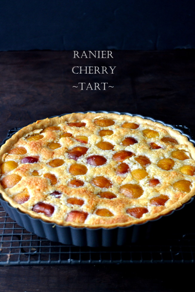 Rainier Cherry Almond Tart ~ an almond scented tart perfect for breakfast, afternoon tea, or dessert. #tart #cherries #fresh #frangipane #almond #cherry #rainier #rustic #easy #recipe