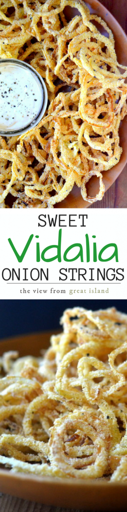 Vidalia Onion Strings with Horseradish Aioli might just be the world's most perfect appetizer, these thin sweet onions rings are fried to perfection in minutes! |sweet onions|onion rings|easy appetizer|game night|