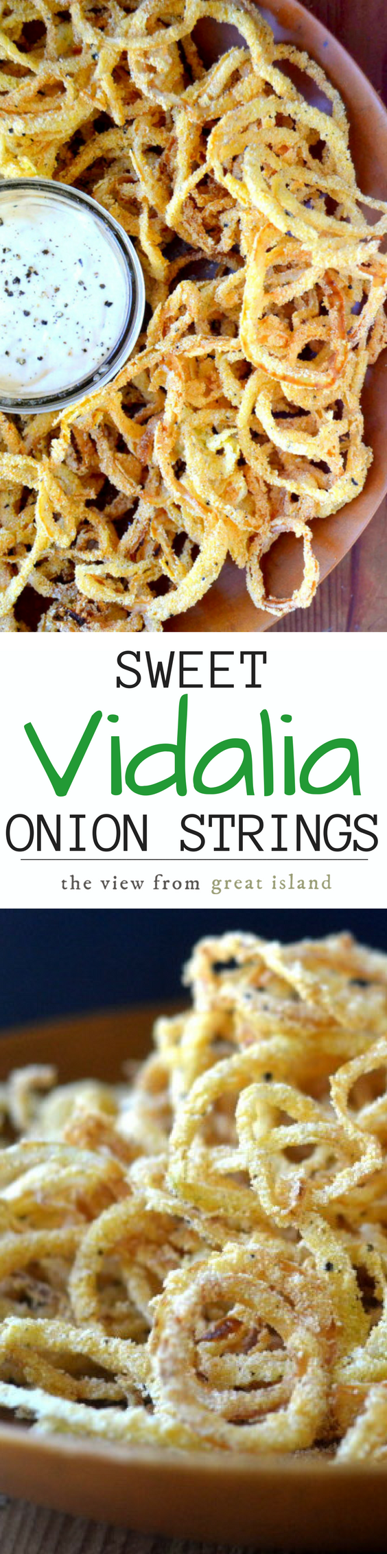Vidalia Onion Strings with Horseradish Aioli might just be the world's most perfect appetizer, these thin sweet onions rings are fried to perfection in minutes! #onionstrings #friedonions #vidaliaonions #snack #appetizer #onionrings #diyonionrings #horseradish #sweetonions