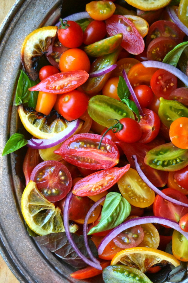 Tomato Onion and Roasted Lemon Salad