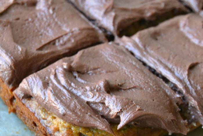 Banana Snack Cake with Mocha Buttercream