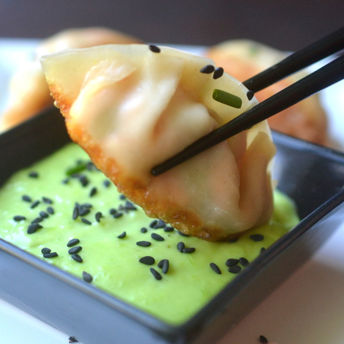 Salmon Potstickers with Wasabi Sauce