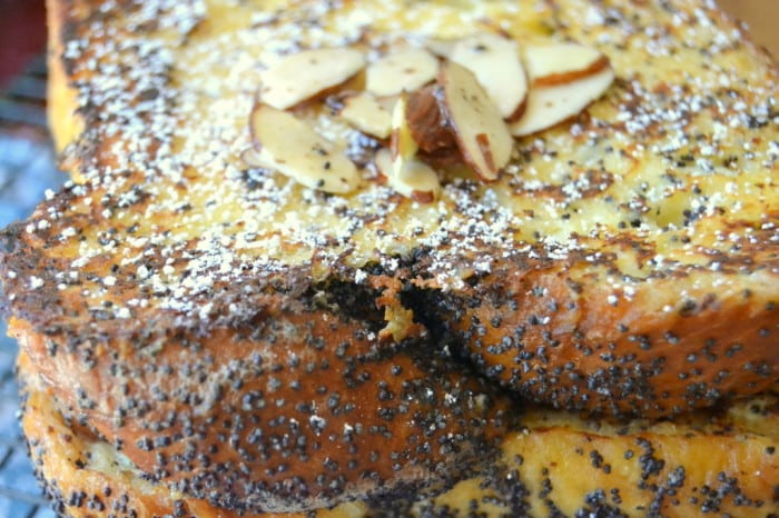 Almond Poppy Seed French Toast with sliced almonds