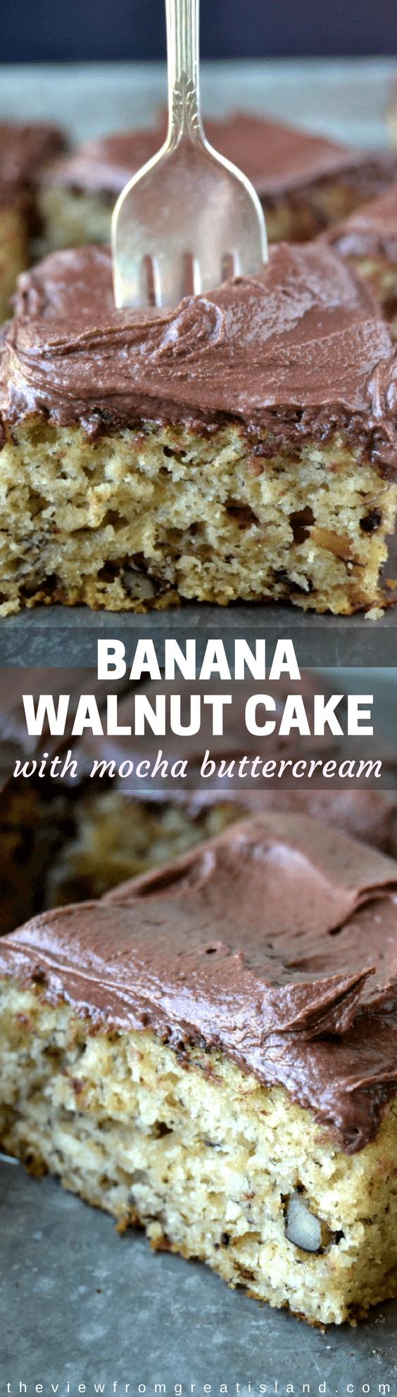 Banana Walnut Cake with Mocha Buttercream ~ this little frosted banana snack cake is definitely a step above the rest! #bananacake #bananacakerecipe #mochabuttercream #buttercream #breakfastcake #dessert #snackcake #chocolate #bananas #cake #bananarecipe
