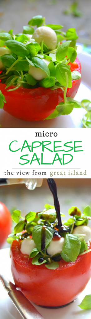 Micro Caprese Salad ~ I planted a cute little individual caprese salad right inside a hollowed out tomato...these are an elegant presentation for a special occasion, or a healthy little lunch for any old day.