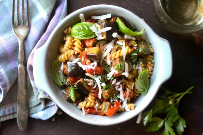 A bowl of Pasta Alla Norma