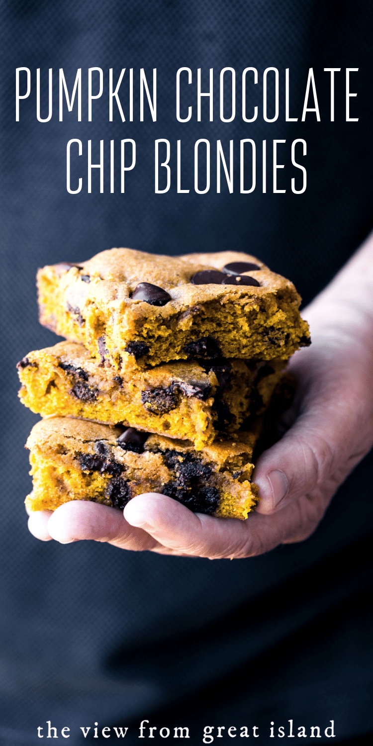 pumpkin chocolate chip blondies pin