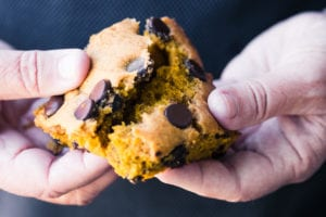 Breaking apart a pumpkin chocolate chip blondie