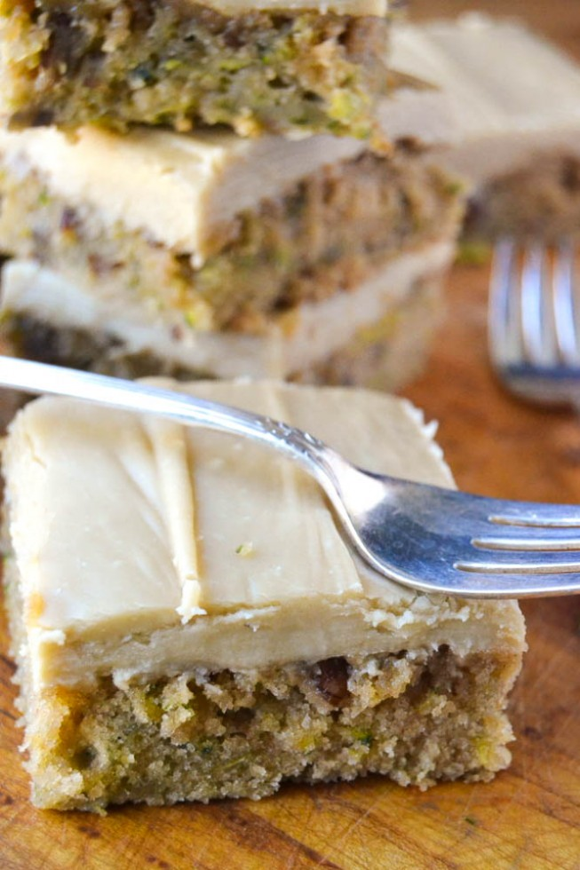 zucchini bars frosted with a rich caramel icing