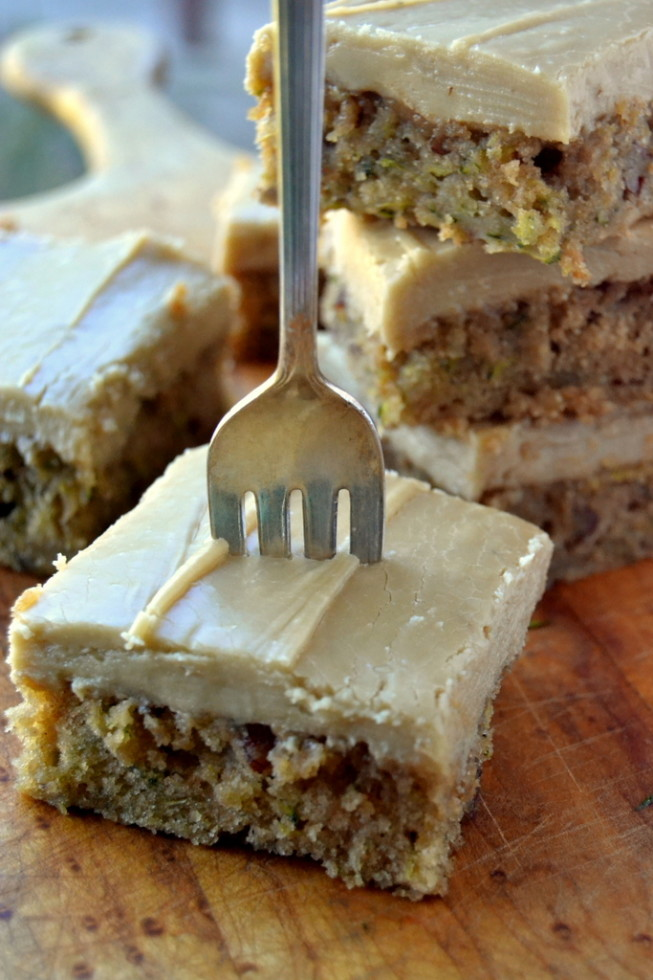 moist succhini cake with caramel frosting