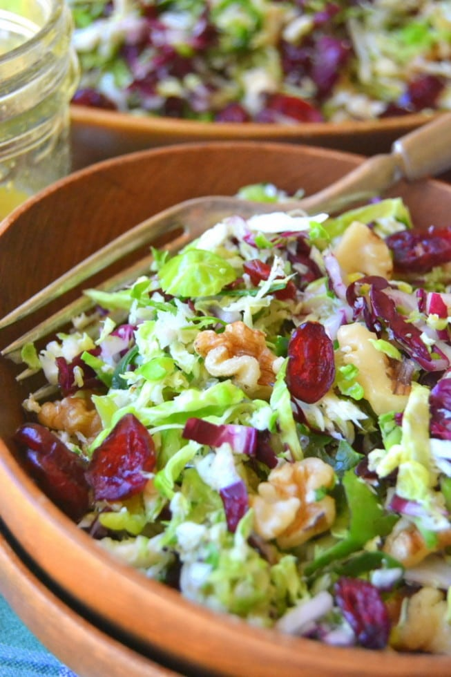 Brussels Sprout Slaw in a wooden bowl