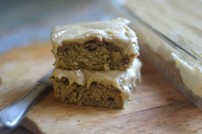 caramel frosted zucchini bars, stacked