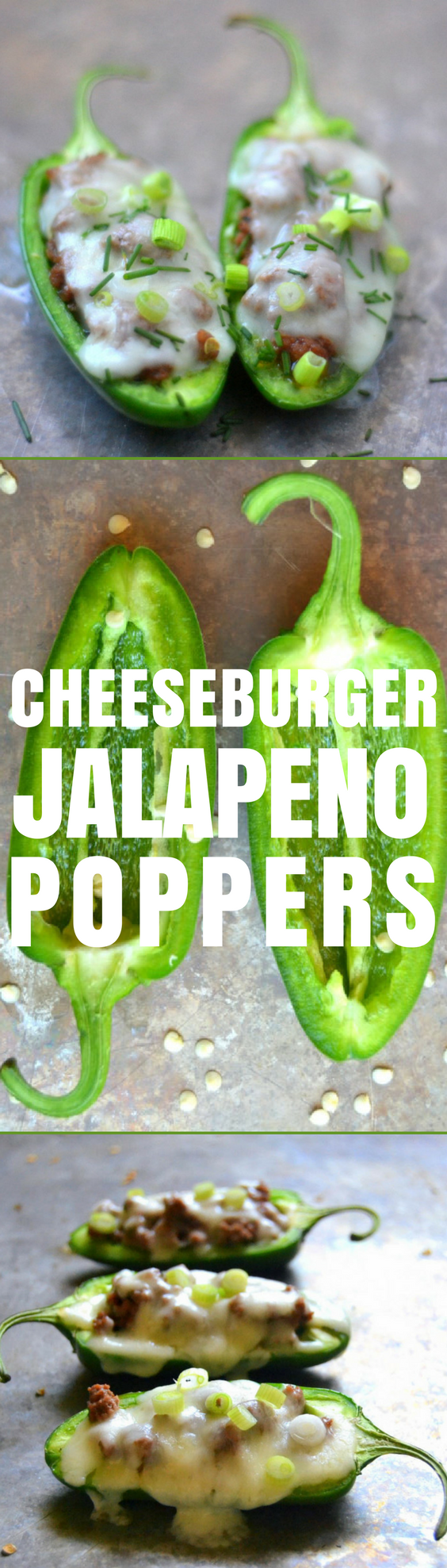 Cheeseburger Jalapeño Poppers are one of the most satisfying appetizers on the planet! These healthier baked jalapeño poppers are stuffed with seasoned ground beef, topped with plenty of melty cheese. #appetizers #gameday #tailgating #gamenight #healthyappetizer #easyappetizers