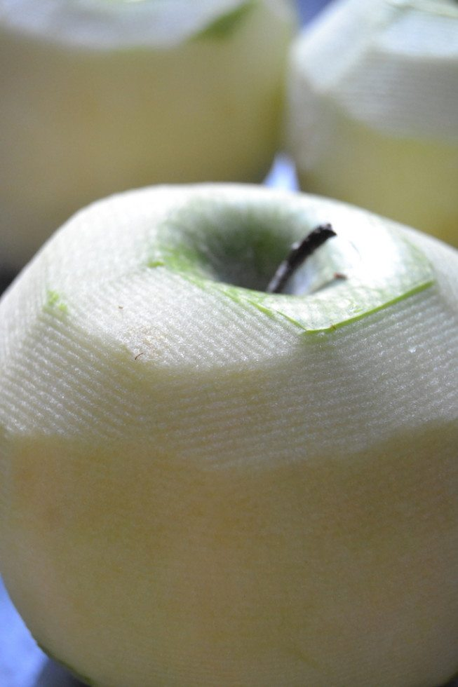 Peeled apple for apple cake.