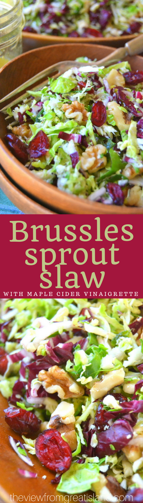 Brussels Sprout Slaw with Maple Cider Vinaigrette is a delicious healthy salad that adds a bit of fresh green to fall and holiday tables. #healthy #superfoodsalad #slaw #Brusselssprouts #bestbrusselssprouts #fallsalad #Thanksgiving #christmas #holidaysalad