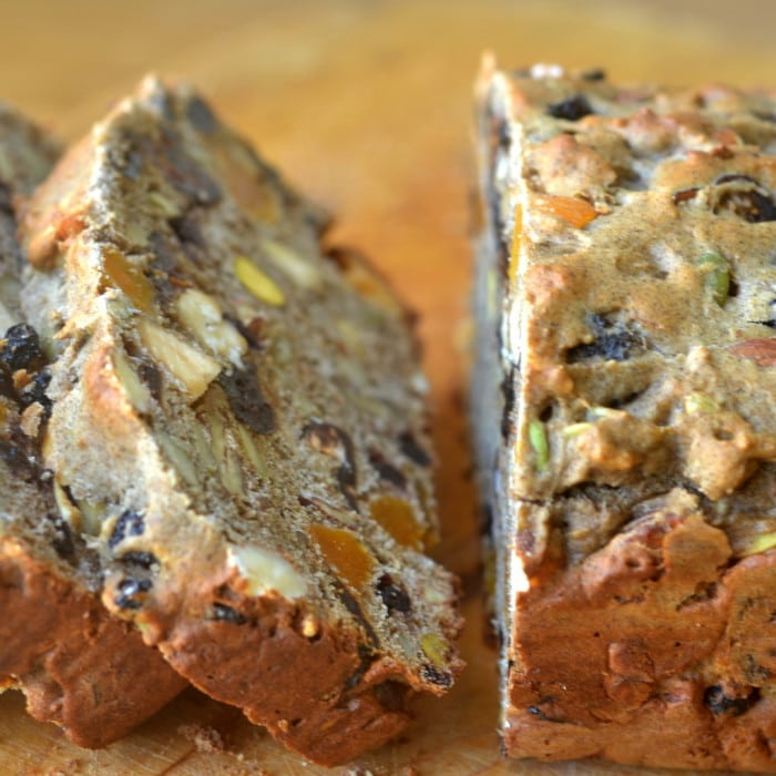 Chunky Fruit and Nut Quick Bread, sliced