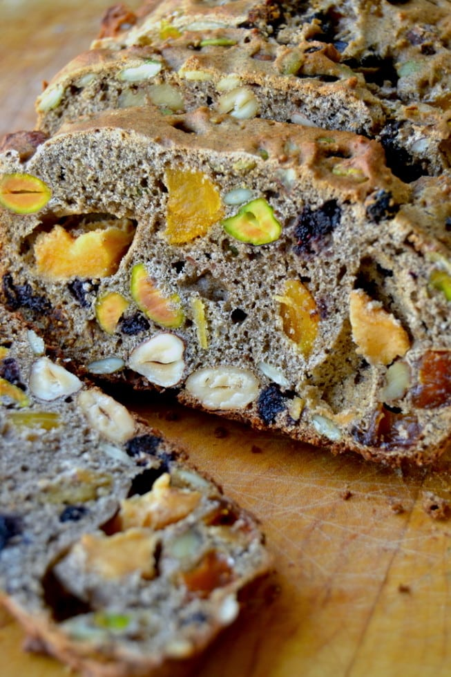 Chunky Fruit and Nut Bread, sliced on a cutting board