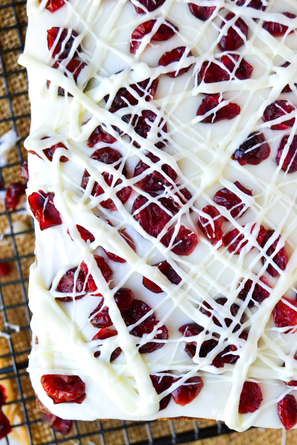cranberry bliss bread, frosted