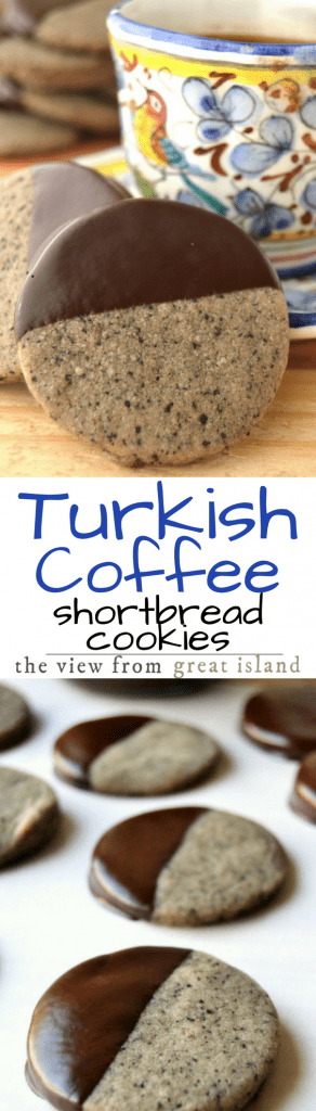 Turkish Coffee Shortbread Cookies are buttery and delicious with a striking flavor combination of strong coffee and warm cardamom ~ these are cookies to linger over!